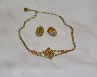 Vintage Topaz Rhinestone Necklace and Clip Earrings