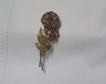 Vintage Pink and Red Rhinestone Cluster Flower Brooch