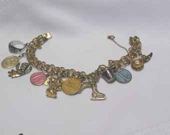 Vintage Elco 1/20 12 Kt GF charm bracelet with sterling silver charms