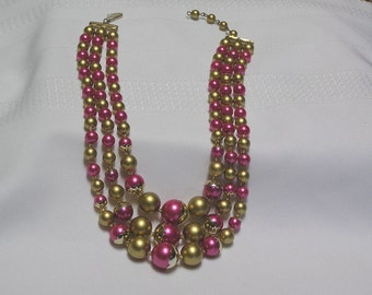 Vintage mad men pink and gold multi strand necklace
