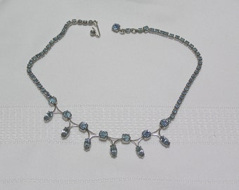Vintage Powder Blue Marquis Cut and Round Rhinestones ..by Gale.. Necklace