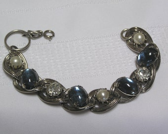 Vintage Blue Glass Cabachons faux pearl clear rhinestone silver tone link Bracelet