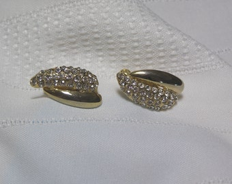 Vintage Rhinestone and Gold tone Leaf..Screw and Clip Earrings