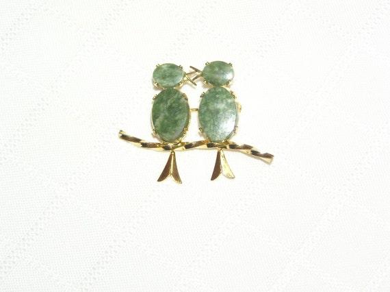Vintage Burt Cassell jade kissing birds pin