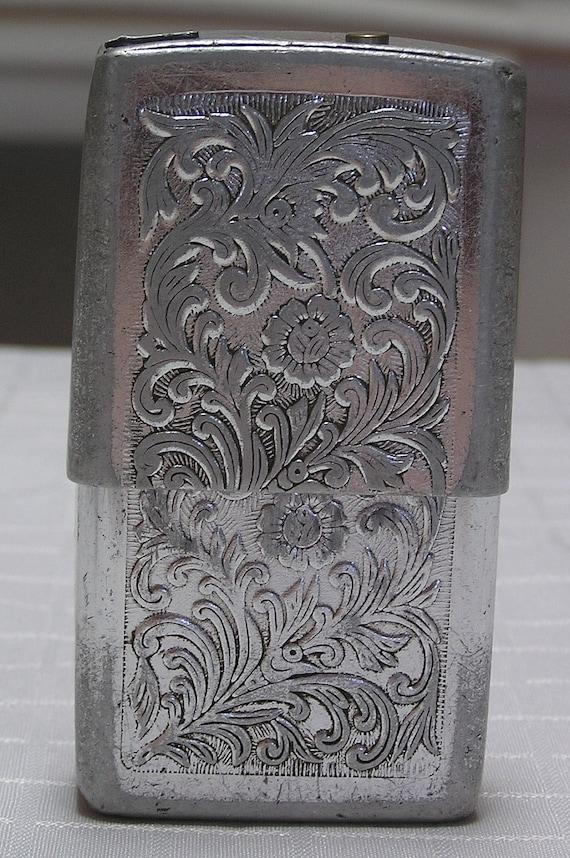 Vintage etched Hong Kong aluminum cigarette case