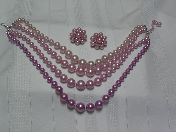 Vintage Japan Four Strand PINK, LAVENDER, WHITE  necklace and clip earrings