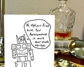 Transformers Greeting Card Optimus Prime Hand Drawn Nerdy Card