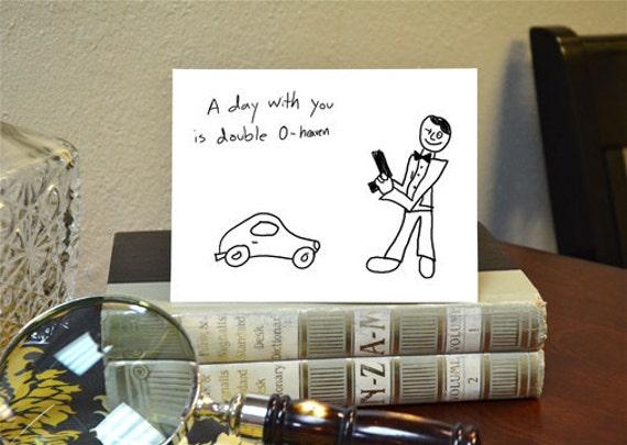 James Bond Greeting Card 007 Hand Drawn Nerdy Card