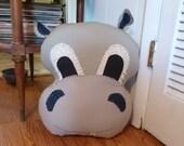 Large Hippopotamus Pillow - Made to Order