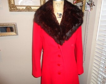 Store Ft. Worth TX Red & Brown Fur Collar Long Coat AWESOME Jacket