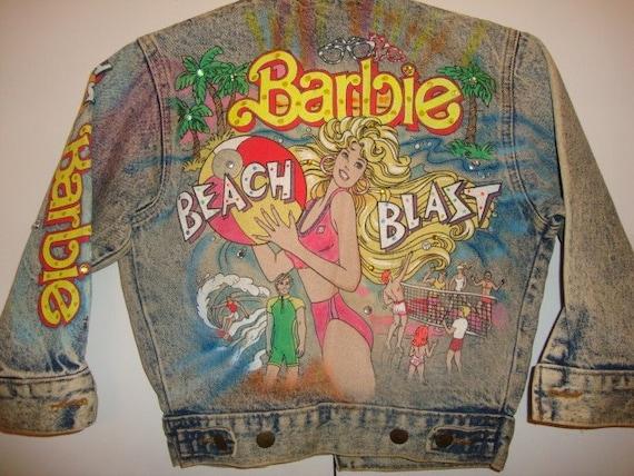 Vintage Barbie Beach Blast Handpainted Acid Wash Denim Jean