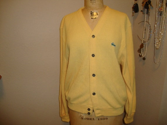 Vintage IZOD Lacoste Yellow Acrylic Sweater Cardigan L
