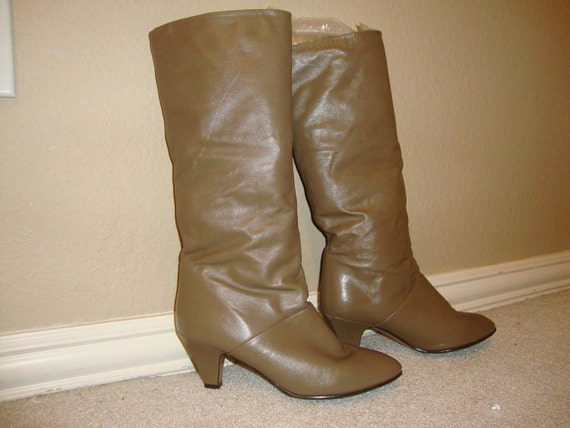 Vintage 70's Leather Taupe Joyce California Boots CUTE 7