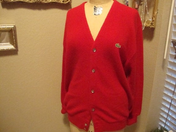 Vintage 70's Lacoste Izod Red Sweater Cardigan XL