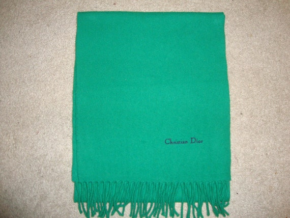Vintage 80's Christian Dior Kelly Green & Navy Lambswool Scarf AWESOME