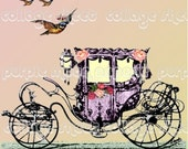 Whimsical Carriage 5x7 digital art collage no 12