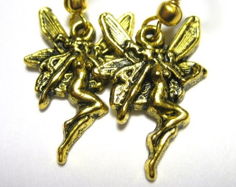 Art Nouveau Earrings Gold Fairy Jewelry 074