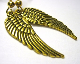 Gold Angel Wing Earrings - Clip On Earrings Option Feather Wing Jewelry 092