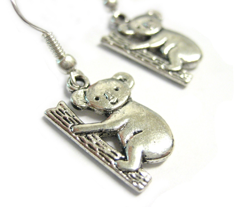 koala earrings silver koala jewelry 118 by luckymejewelry