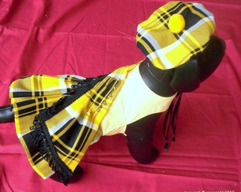 Black and Yellow Tartan Dog Kilt And Hat, MacLeod or Barclay Clan