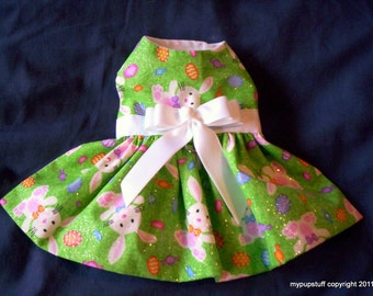 Glitter Bunnies and Colorful Eggs Easter Dog Harness Dress XXXS,XXS,XS,S,M