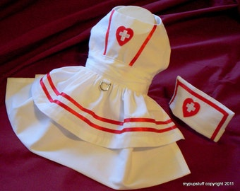 Nurse Dress and Hat Costume for Dogs XXXS,XXS,XS,S,M