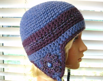 Crocheted Ear Flap Hat Blue and Eggplant with Flowers and Beads - Lady Bug - Crochet Ear Flap Beanie - Crochet  Beanie with Flower
