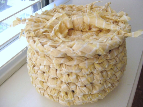 Crocheted Rag Basket with Lid in Yellow-Eco Friendly