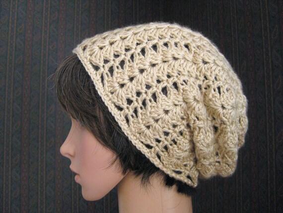 Crocheted Slouch Beanie Hat -Light Tan