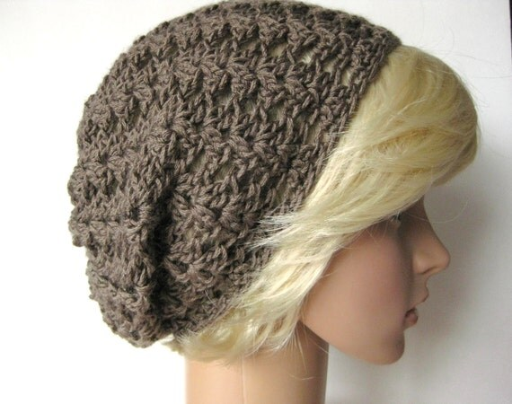 Lacy Crocheted Slouch Beanie Hat -Taupe-Christmas in July Sale