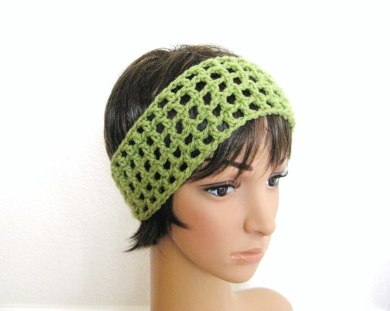 Crocheted Headband-Spring Green