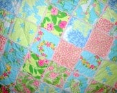 Just for You - Custom Twin Quilt - Lilly Pulitzer fabric - Your Color Choice