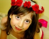 Flower girl red rose and tulle  headband for a wedding ceremony. Perfect hair accessory for weddings or special occasions.