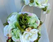Wedding Bouquet Flower girl Pomander Headband set green ivory cream roses