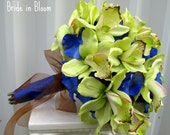 Wedding bouquet green orchids royal blue silk bridal flowers