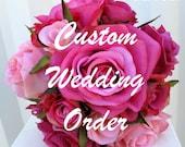 Reserved for - Kristina Copeland  - Lime calla burlap & lace wedding bouquet set