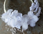 Bridal headband white flower pearl Wedding hair accessories