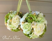 Wedding flower balls pomander green ivory Wedding decorations Ceremony Aisle pew markers