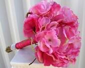 Hot pink Wedding bouquet hydrangea Bridal bouquet Silk