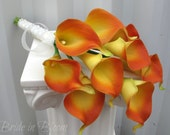 Calla lily Wedding bouquet orange real touch Bridal bouquet Bridesmaid bouquet