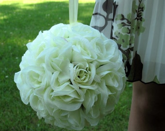 Wedding pomander flower ball white kissing ball flower girl Wedding decoration