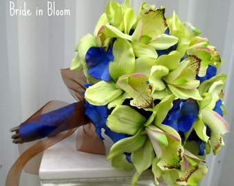 Wedding bouquet green orchids royal blue silk bridal flowers