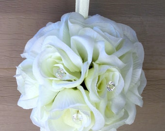 Wedding pomander, White rose kissing ball, Wedding decorations Aisle runners