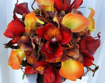 Autumn wedding bouquet - Bridal bouquet real touch orchids calla lilies orange red brown - Fall wedding flowers