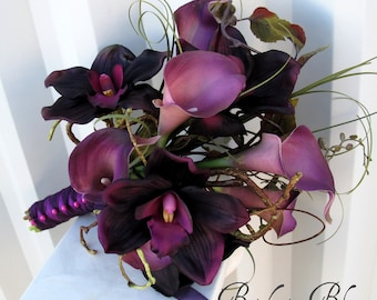 Wedding Bouquet - Real touch calla lily Bridal bouquet - Orchid plum lilac purple bridal flowers