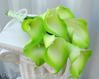 Bridesmaid bouquet, Wedding bouquet, Lime green cream calla lily Bridal bouquet, Real touch flowers