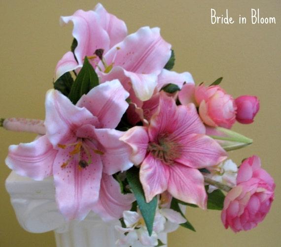 Stargazer lily wedding bouquet pink white silk bridal flowers