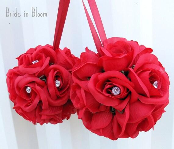 Wedding flower balls - SALE - Red pomander Flower girl kissing ball Wedding decorations Bridesmaid bouquets