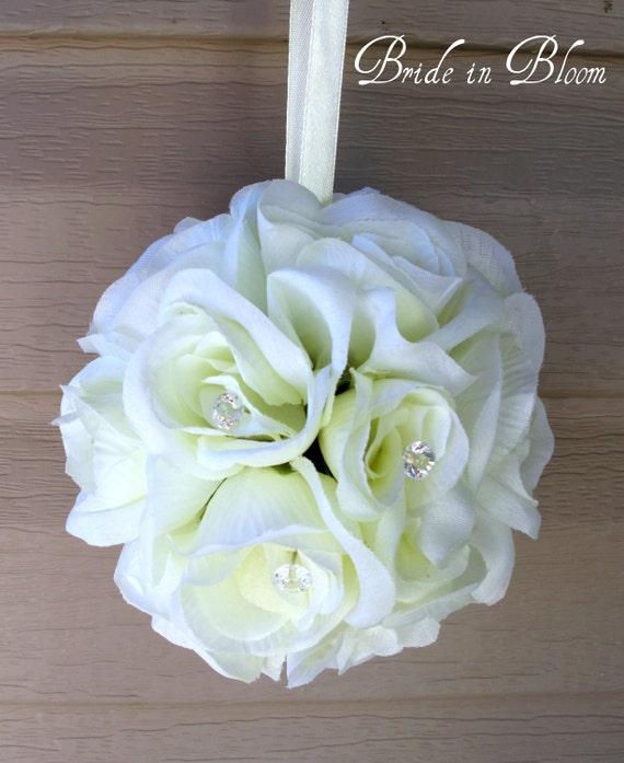 Wedding pomander, White rose kissing ball, Wedding decorations Aisle runners