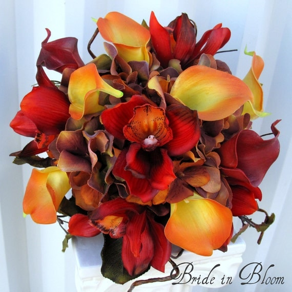 Wedding bouquet autumn fall bridal bouquet real touch orchids calla lilies red orange brown